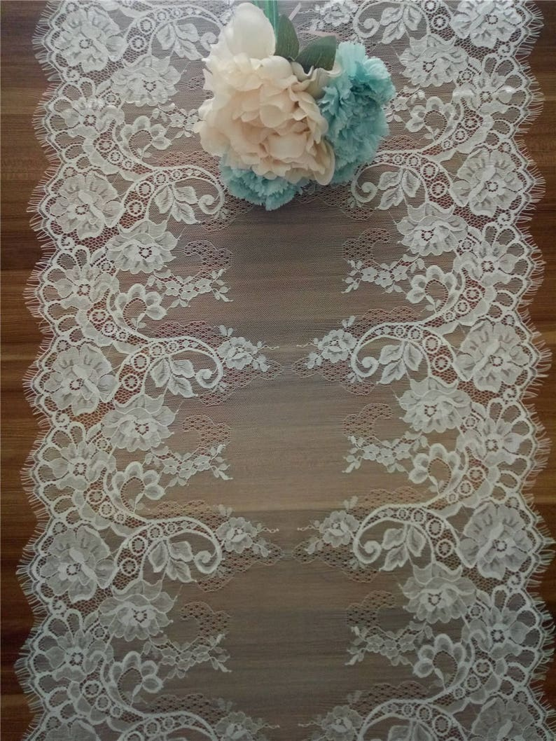 Wedding table runners Lace table runners  17 inches wide image 0