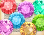 12 Gemstones Collection Digital Collage Sheet 2 inch 1.5 inch Circle images Instant Download for Bottle caps Glass Pendants Oe25
