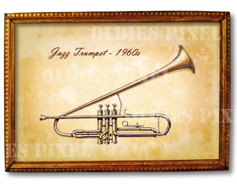 Antigua Trompeta Jazz De 1960 Instrumento Musical Instantánea Etsy