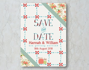 Summer Picnic Wedding Save the Date Card or Magnet