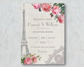 Wedding Invitation Card - Paris Wedding Invitation - Wedding Invite - Paris Wedding Invite - Parisian - France - Eiffel Tower - Tour D'Eiffe