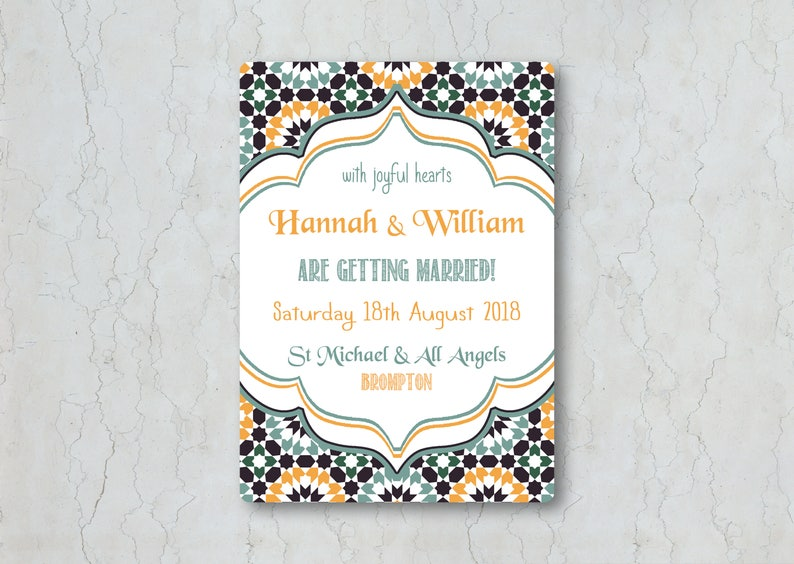 Moroccan-Themed Wedding Invitation - Blue, Gray, and Orange