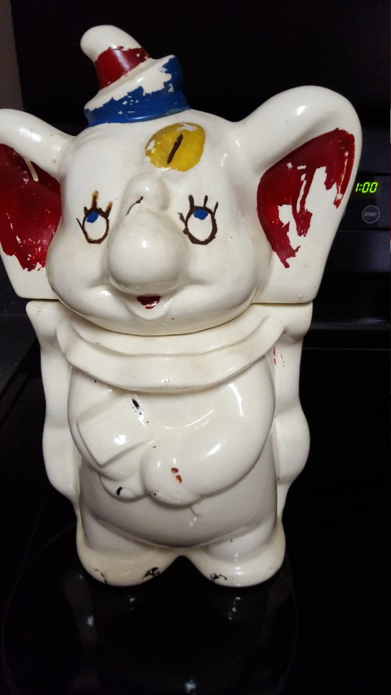 Disney Cookie Jar Etsy >> Old Disney Dumbo Turnabout Cookie Jar