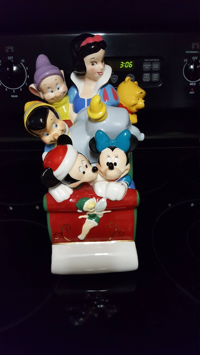 Disney Cookie Jar Etsy >> Disney Sleigh With Snow White And Dumbo And Others Cookie Jar