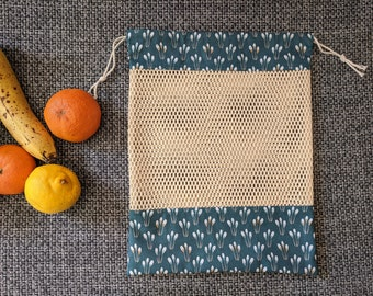 Sky Blue Wave Ryaiha Pattern Vegetable fillet for your bulk shopping 100/% Organic Cotton and Oeko-Tex Zero Waste Green Rack Gift