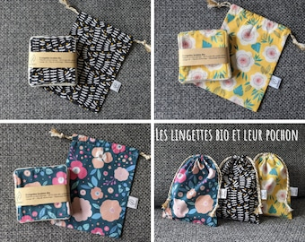 5 GOTS washable organic wipes and pretty matching storage pouch, cotton make-up remover, extra soft fleece, new mother's gift