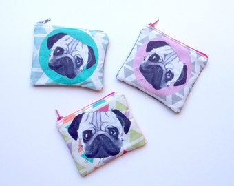 Pug linen coin purse - Grey