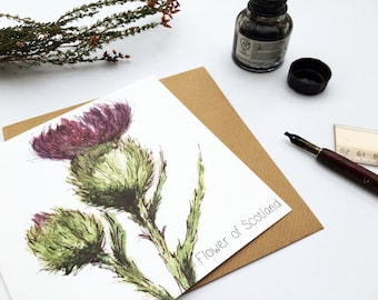 Scottish Thistle - Flower of Scotland - Greetings Card
