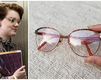 7c917273d63 Vintage 80s Geoffrey Beene Barb Stranger Things Eyeglasses Pink Oversized  Metal Frames Lens Clear Glasses Costume Cosplay Halloween