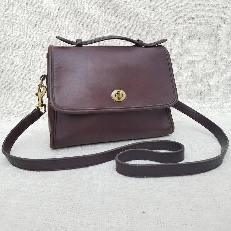Vintage Coach Court top handle crossbody bag Dark Brown  c4d708b938fc1