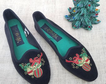 Vintage Velvet Embroidered Christmas Ornaments Slip On Ballet Flats Ugly Tacky Christmas Party Holiday Accessories / tinsel toes size 6M