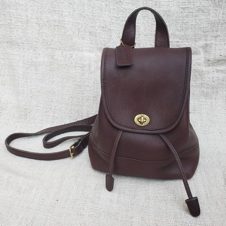 dbc1bb92d0 Vintage Coach Brown Leather Mini Backpack Daypack Rucksack Bag