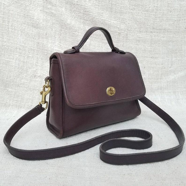 Vintage Coach Court top handle crossbody bag Dark Brown  b32386c7ecb28