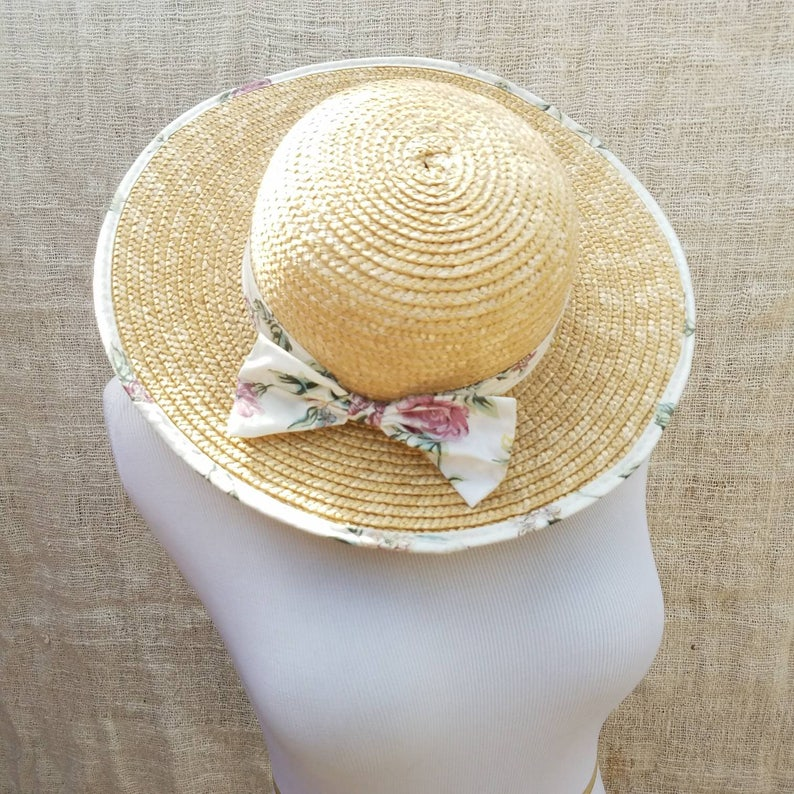 Vintage Braided Straw Wide Brim Circle Sun Hat with Floral  c769c6033c0
