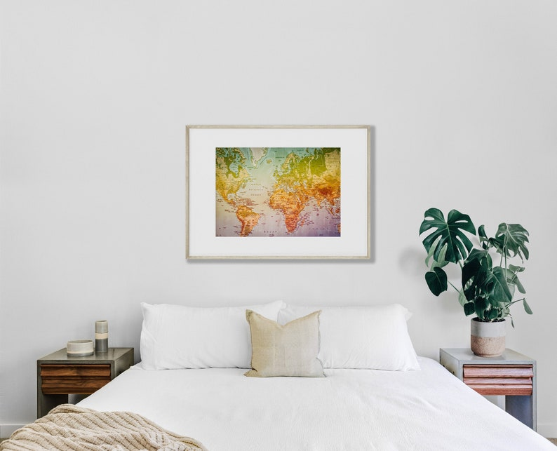 Instant Photo Download Wall Decor Digital Art Print World Map Printable Art Map of the World Colourful image Continents Countries