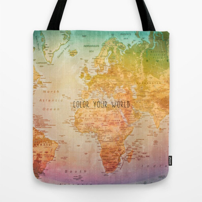 1cdcfbb916 World Map Tote Bag Tote Bag Color your World Colorful Art