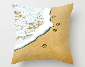 Paw Prints Pillow, Prints, Paw Prints, Animal Prints, Home Decor, Animal Lover, Dog Prints, Throw Pillow, Beach Pillow, Original Photo