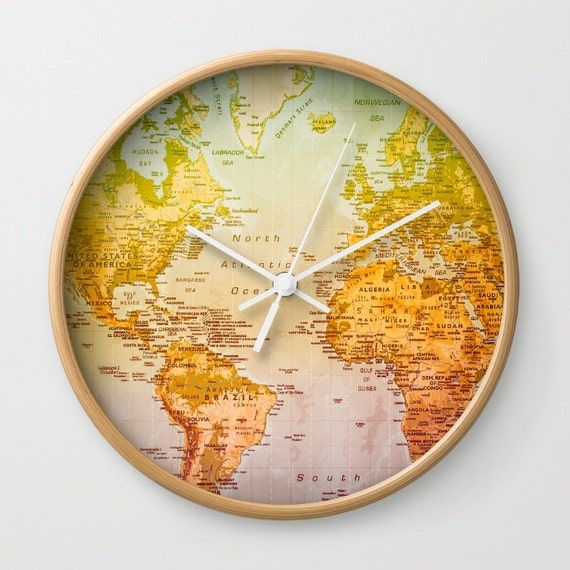 World Map Wall Clock, Colorful Art, Wall Decor, Map, Colors, Continents,  Countries, Colorful World, Colorful Clock, Map Clock, Rainbow Color
