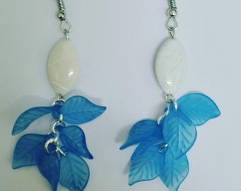 Dangle earrings white pearls and blue leaves