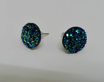 """Earrings Stud - dome """"druzy"""" blue iridescent 10mm"""