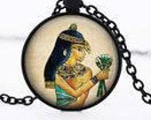 Egyptian, dome 2.5 domed glass cabochon Medallion pendant necklace cm black or silver 45 cm chain