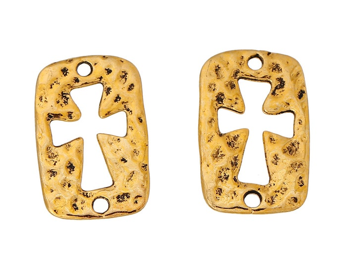 4 dark gold hammered cross cut out connector 23 x 14 mm cut out golden cross aged hammered 4 rectangular connectors