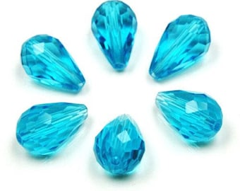 2 large pearls drops 15 x 10 mm, your turquoise, translucent faceted glass