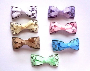 Accessory hair bow, barette50 X 25 mm needles, pattern, available in 7 different colours