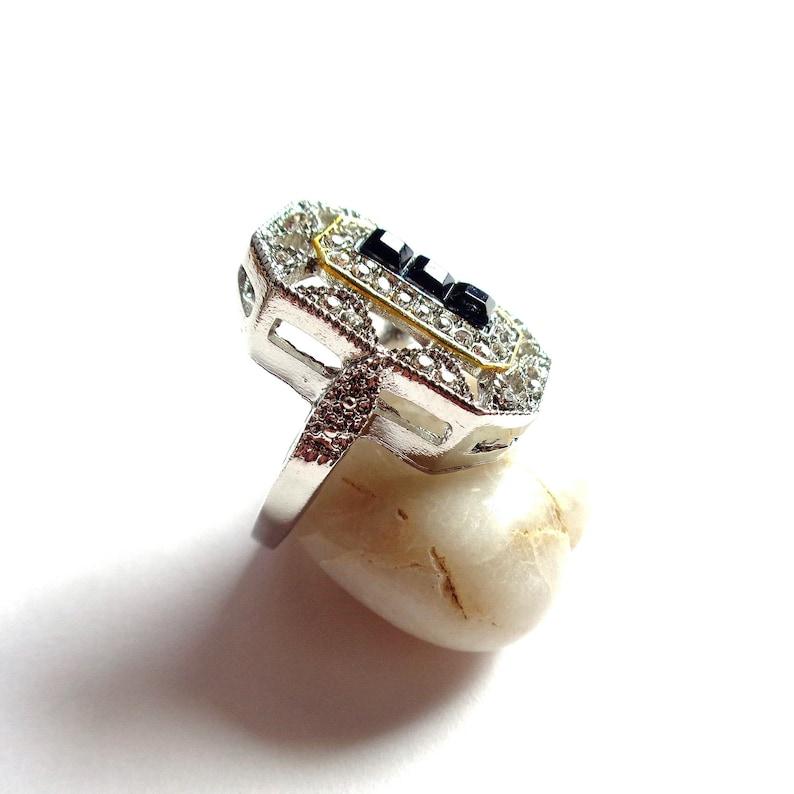 gold-plated border 14k silver  transparent rhinestones  sapphire Octagonal fancy ring F 52 - US 6 20x12 mm ART DECO style