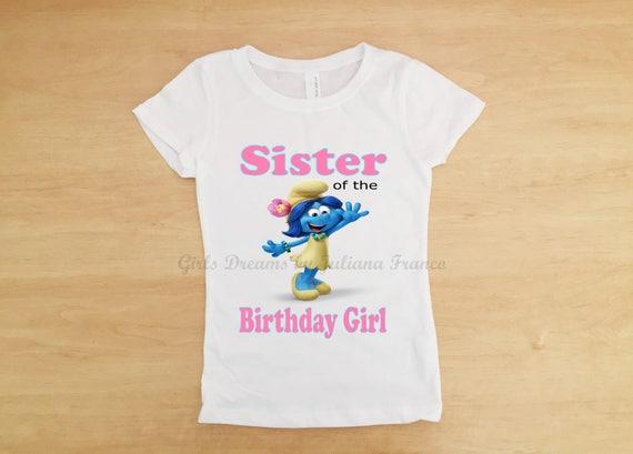 Fiore di Puffi famiglia compleanno camicia Smurfette Bithday  124962962beb