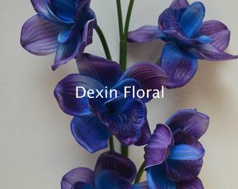 blue purple cymbidium orchids natural real touch flowers diy centerpieces decorations bridal bouquets wedding flowers