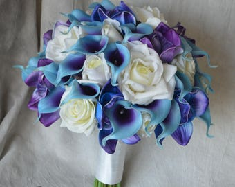 Wedding Package Teal Royal Blue Purple Cascade Bridal Bouquet