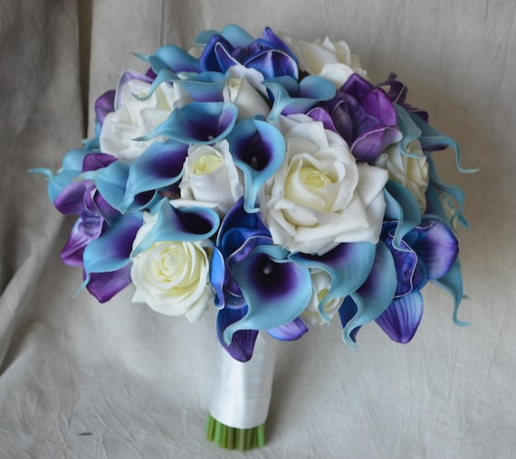 Blue Purple Bridal Bouquet Real Touch Flowers Calla Lily Ivory Etsy
