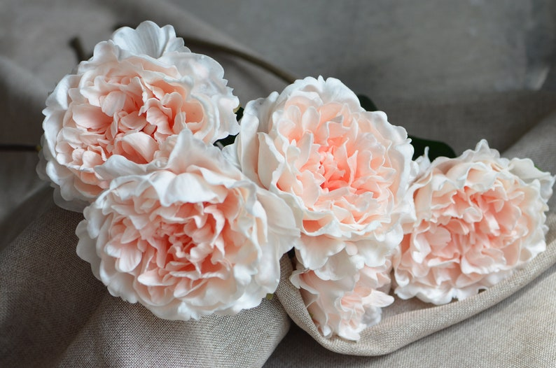 Peach Large Peonies Real Touch Peonies DIY Silk Wedding Centerpieces Wedding Bouquets