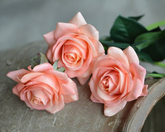 Dusty Blush Roses Pink Coral Roses Diy Silk Bridal Bouquets Etsy