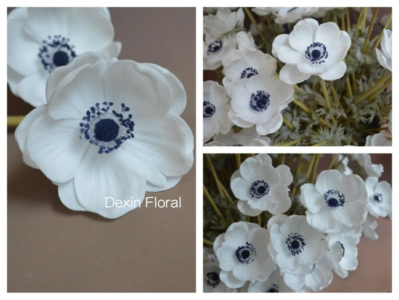 Natural real touch not silk white anemones deep blue center etsy image 0 mightylinksfo