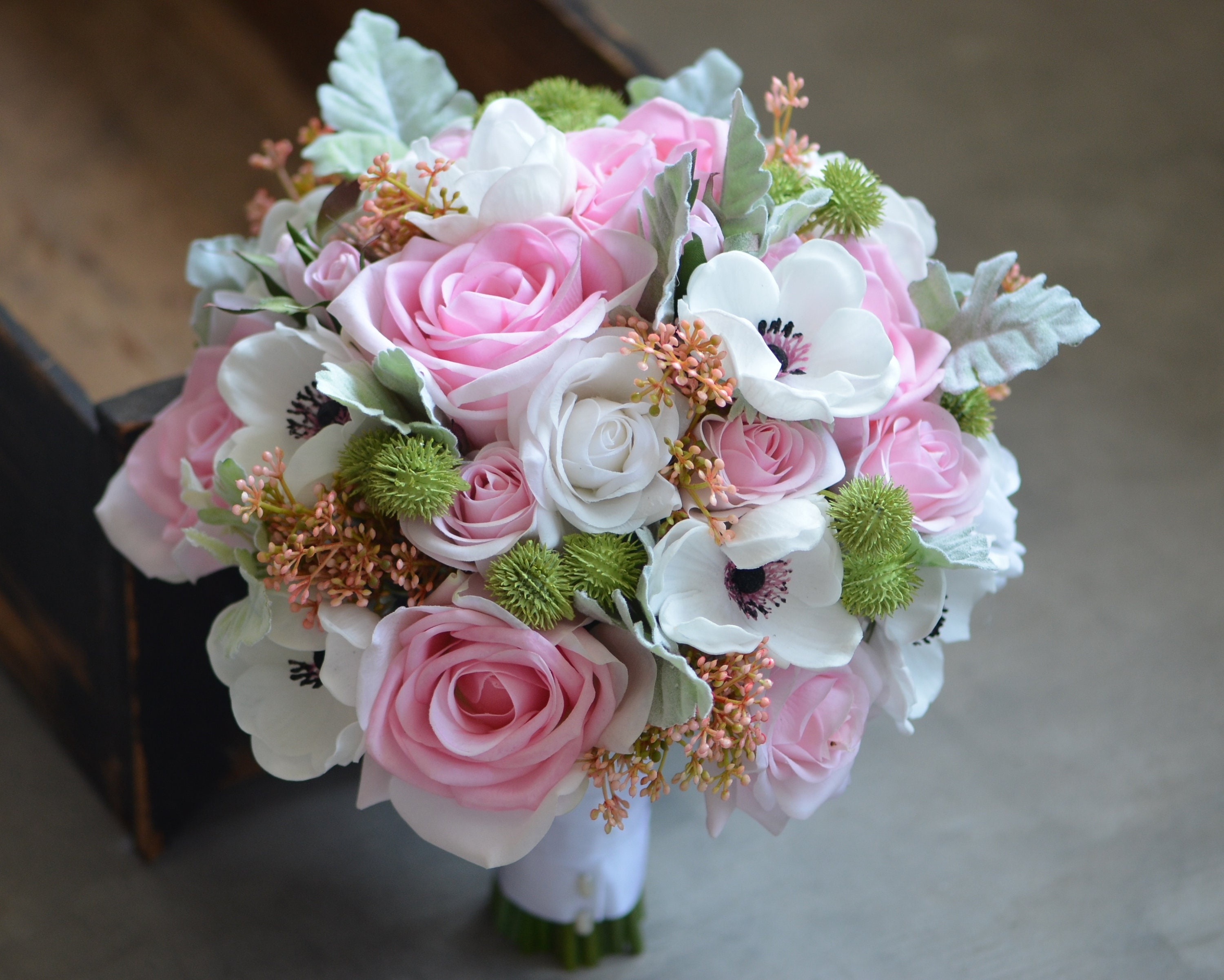 Roses anemones bridal bouquet real touch flowers light pink etsy zoom izmirmasajfo