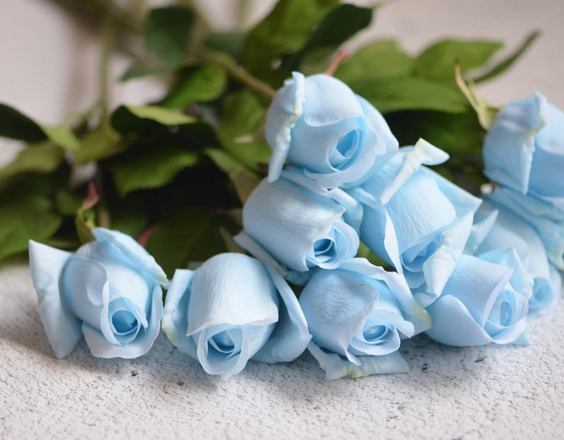 Magnificent Pale Blue Roses Buds Real Touch Flowers Diy Wedding Centerpieces Silk Bridal Bouquets Home Interior And Landscaping Fragforummapetitesourisinfo