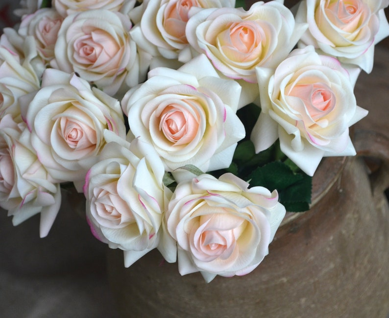 Light Blush Roses Real Touch Flowers Silk Roses DIY Wedding Flowers Silk Bridal Bouquets Wedding Centerpieces