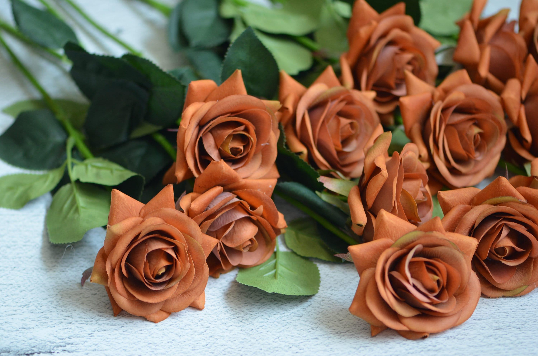 Burnt Orange Real Touch Silk Roses Diy Silk Bridal Bouquets Etsy