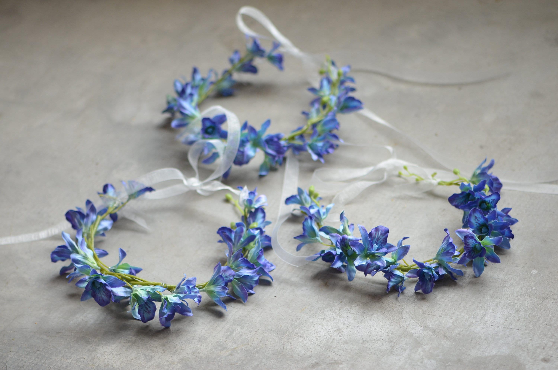Blue Purple Orchid Girls Flowers Crowns Wedding Flower Crowns Etsy
