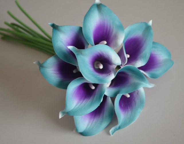 10 Teal Purple Picasso Calla Lilies Real Touch Flowers Diy Silk