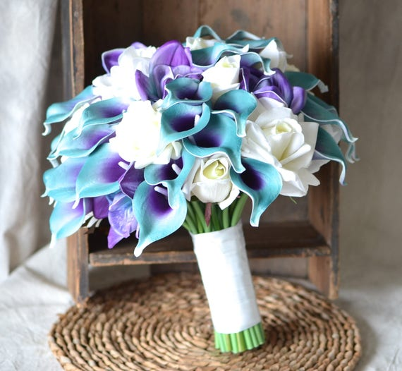 Teal Purple Bridal Bouquet Real Touch Flowers Calla Lily Ivory | Etsy
