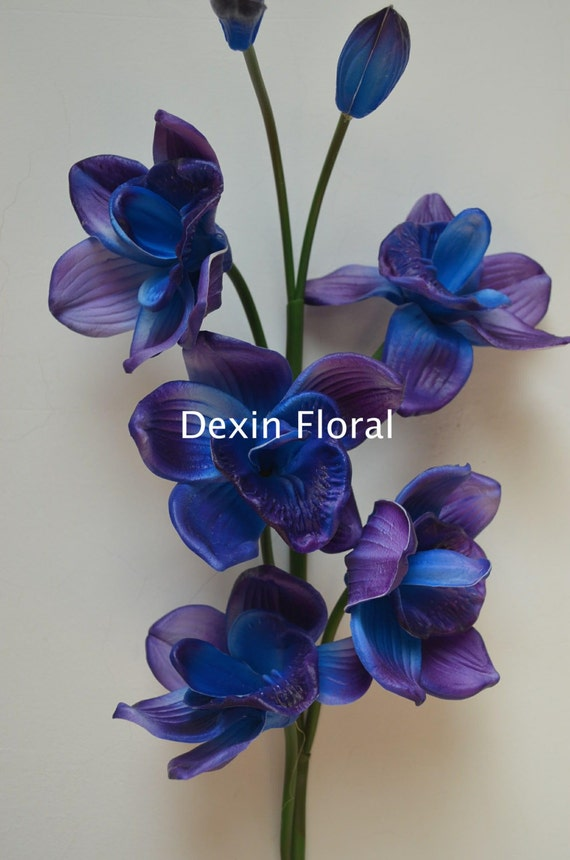 Blue Purple Cymbidium Orchids Natural Real Touch Flowers Diy Etsy