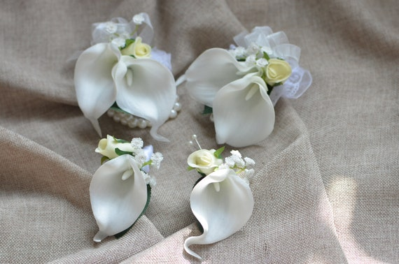 Ivory White Calla Lily Mother Corsages Dads Boutonnieres Etsy
