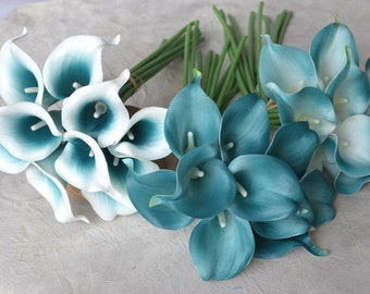 10 Picasso Oasis Teal Edge Calla Lilies Real Touch Flowers DIY Silk Wedding Bouquets, Centerpieces, Wedding Decorations