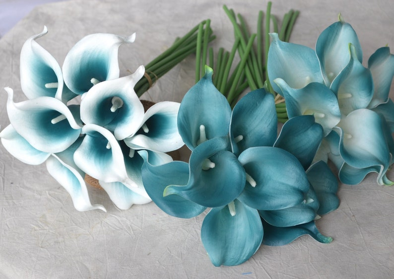 10 Picasso Oasis Teal Edge Calla Lilies Real Touch Flowers DIY image 0