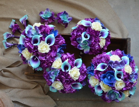 Purple Turquoise Wedding Bouquets Real Touch Calla Lilies Etsy