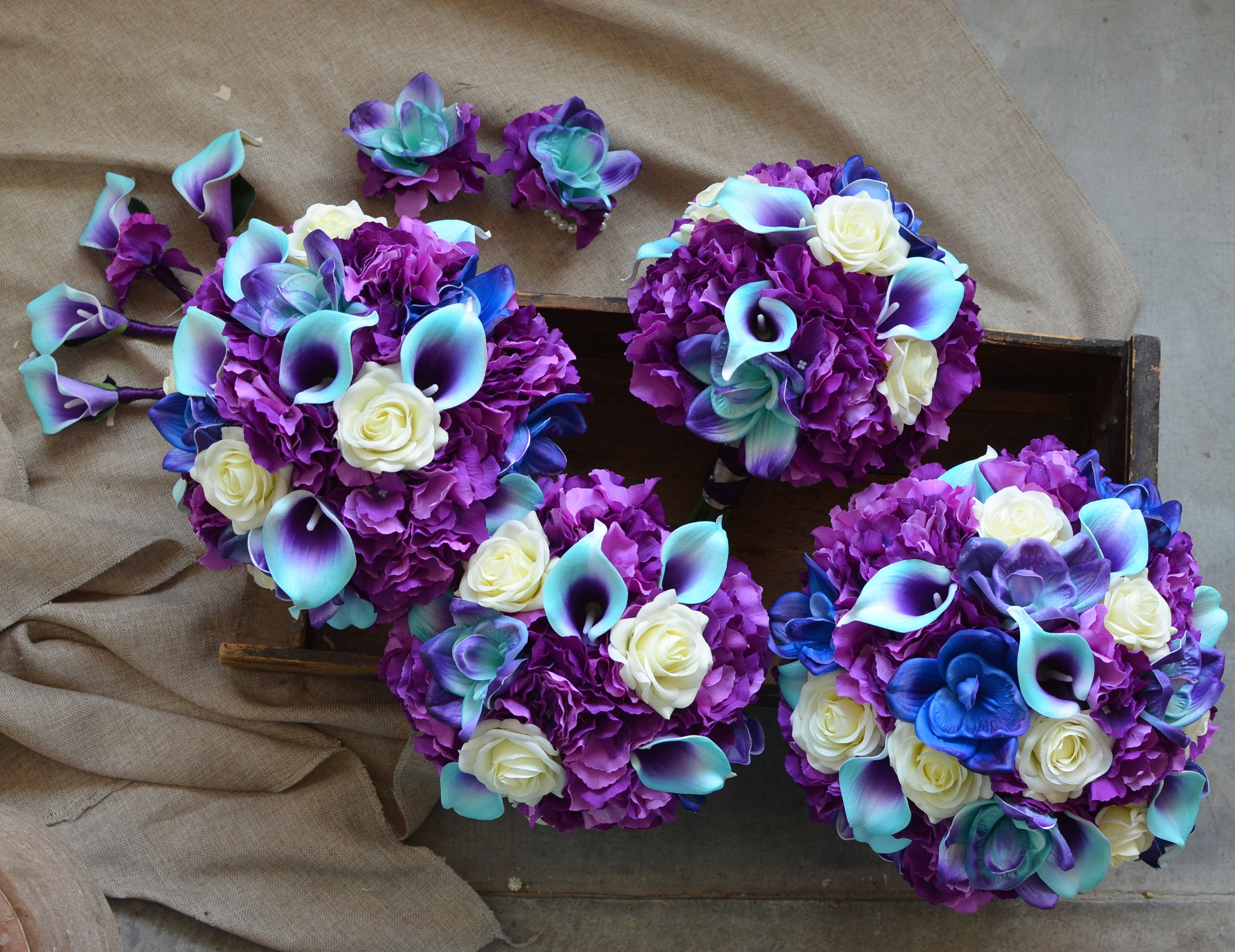 Purple Turquoise Wedding Bouquets Real Touch Calla Lilies