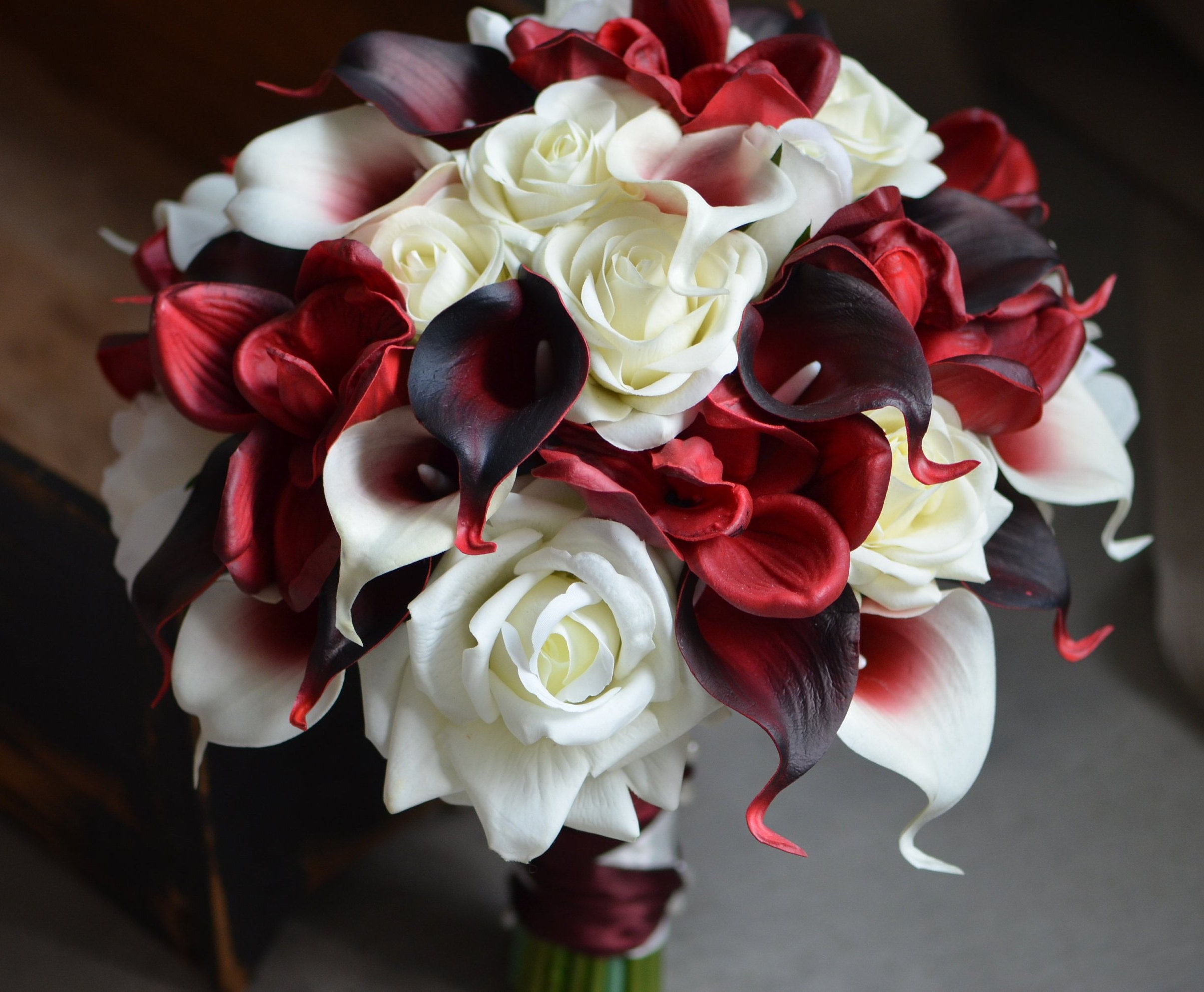 Dark red burgundy bridal bouquet real touch calla lilies roses etsy zoom izmirmasajfo